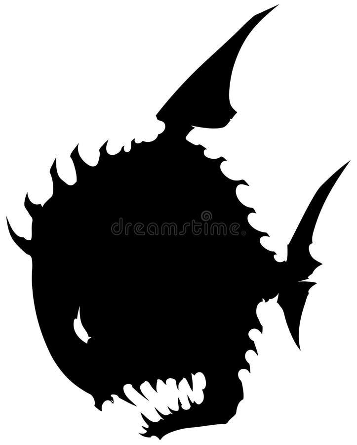 黑图表与锋利的钉的剪影圆的妖怪鱼 库存例证