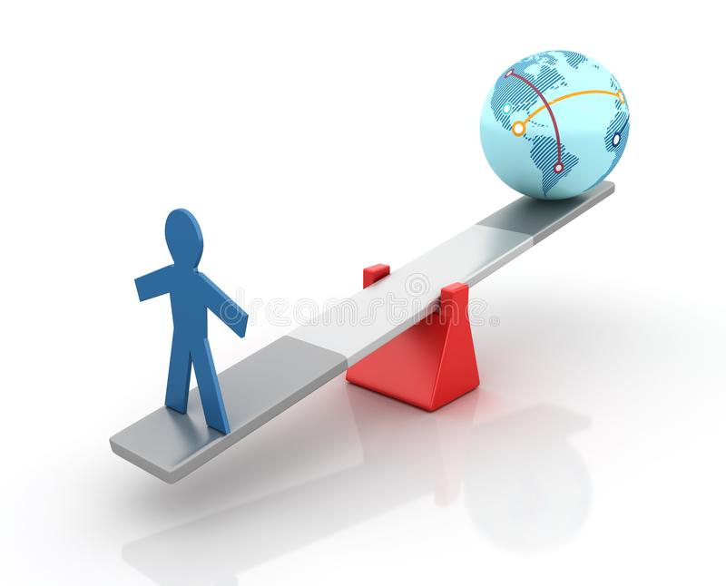 图表人和平衡在跷跷板的地球世界 向量例证