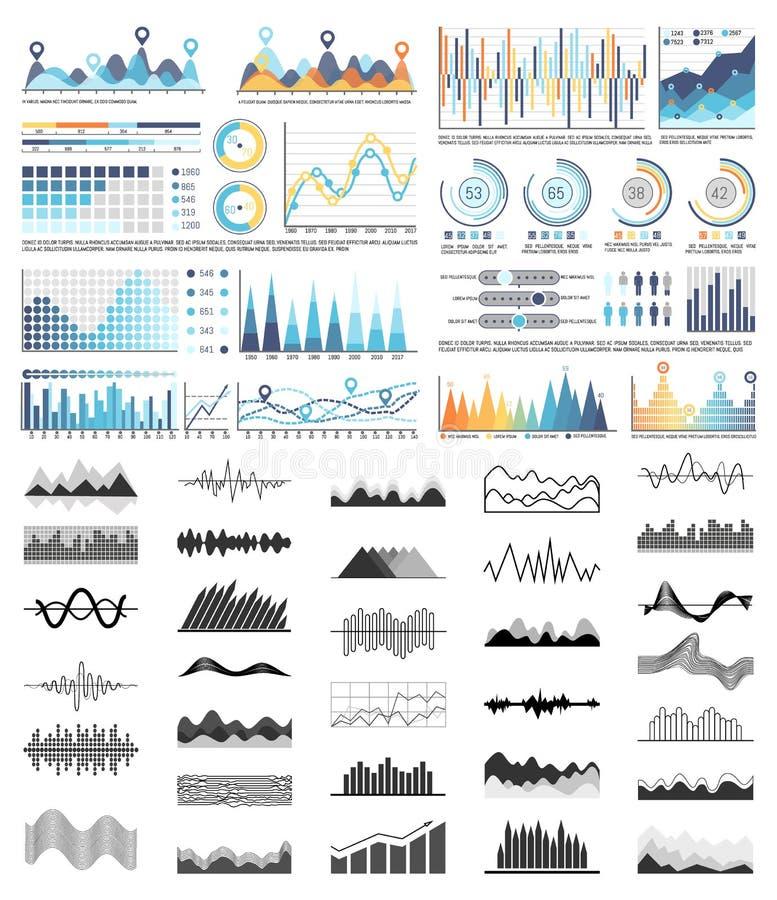 图表和流程图、计划和图集合 向量例证