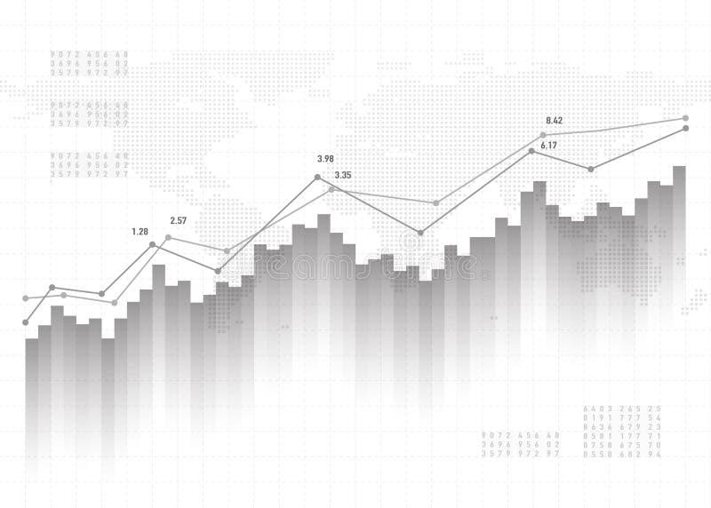 图表图数据背景 财务概念,灰色传染媒介样式 股市报告统计设计 向量例证
