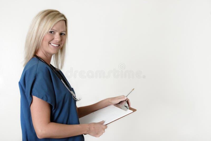 图表在相当空白的藏品护士 免版税库存图片