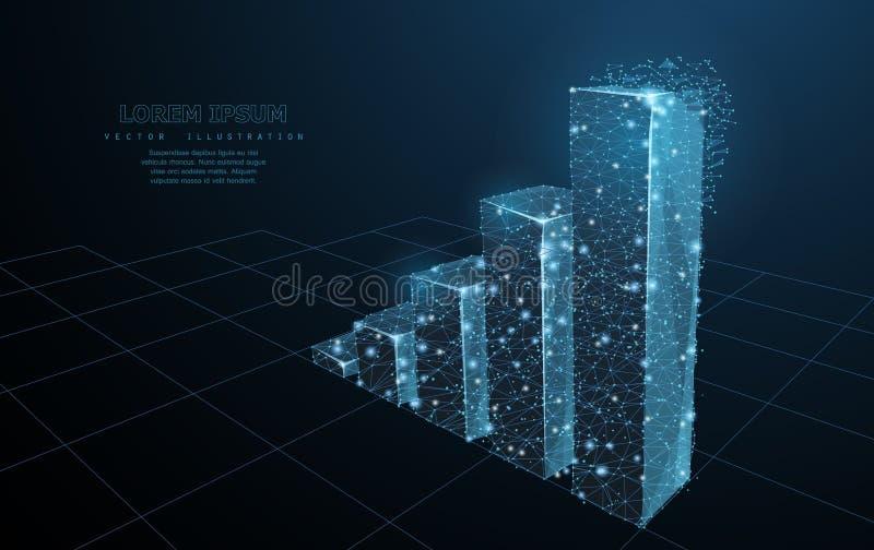 图表增长 在深蓝背景的低多wireframe滤网 成功、成就和企业标志,例证或 向量例证