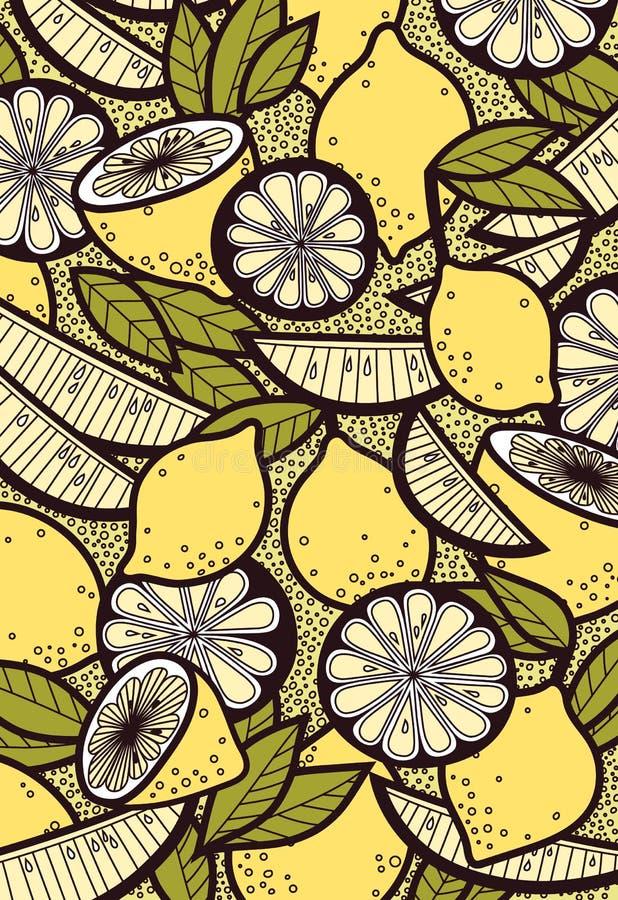 图表夏天背景用新鲜的柠檬和叶子 皇族释放例证