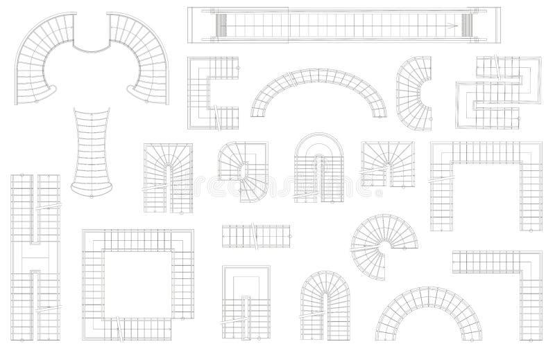 图表套台阶用不同的形式 顶视图 也corel凹道例证向量 背景查出的白色 向量例证