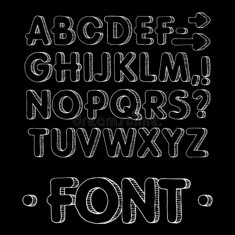 图表字体 手工制造Sans Serif字体,稀薄的线 手拉的书法字法字母表 也corel凹道例证向量 信函 向量例证