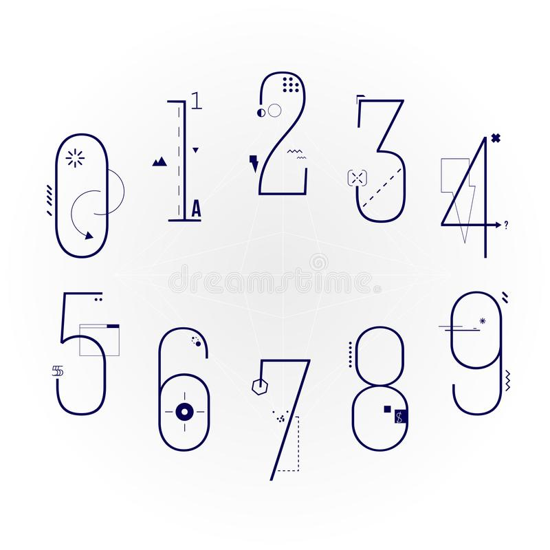 图表平的线艺术被设置的样式数字 几何对象数字字体 库存照片