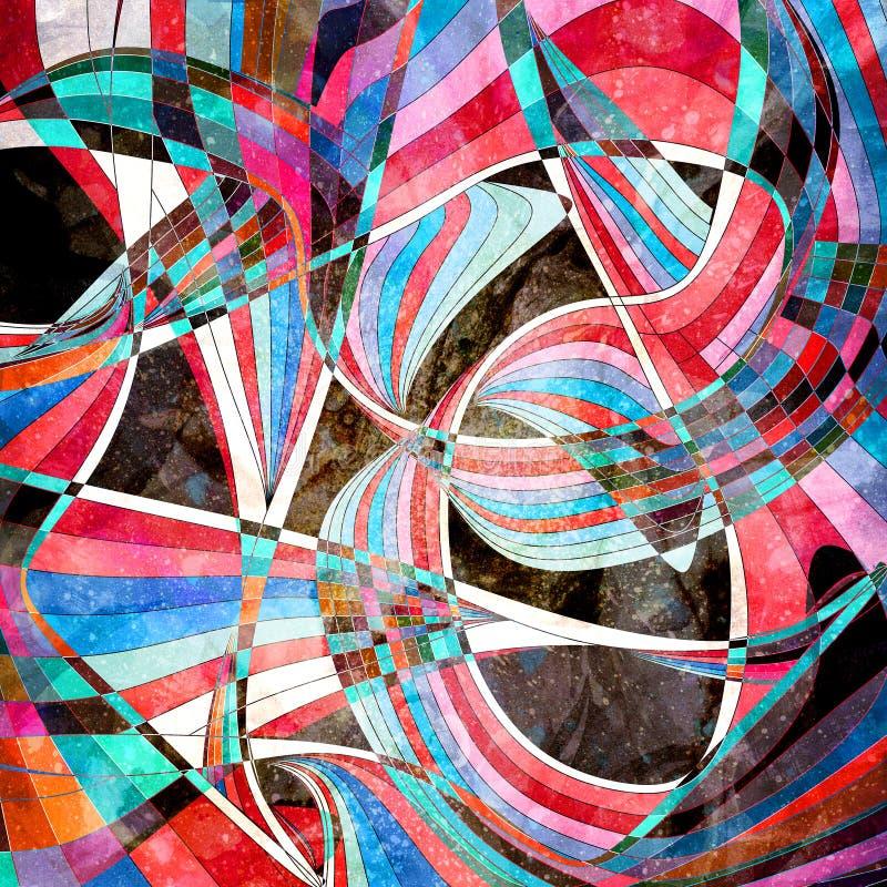 图表抽象五颜六色的波浪 库存例证