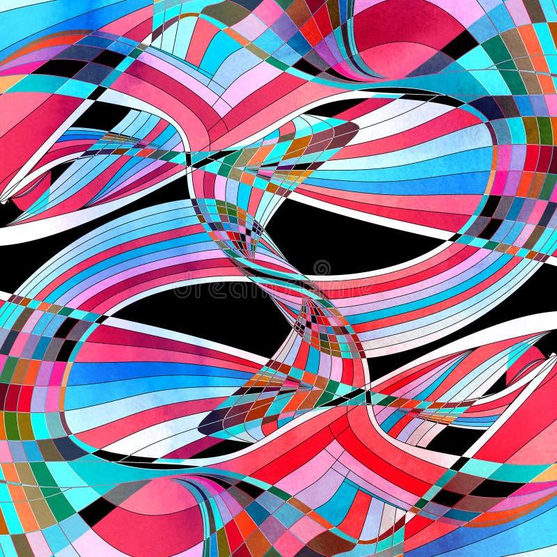 图表抽象五颜六色的波浪 向量例证