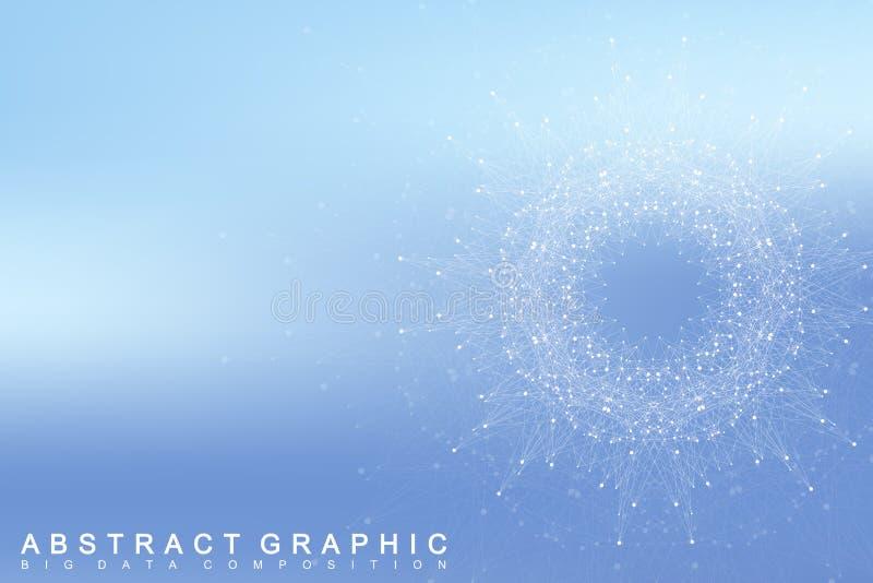 图表抽象背景通信 与化合物的大数据复合体 向量例证