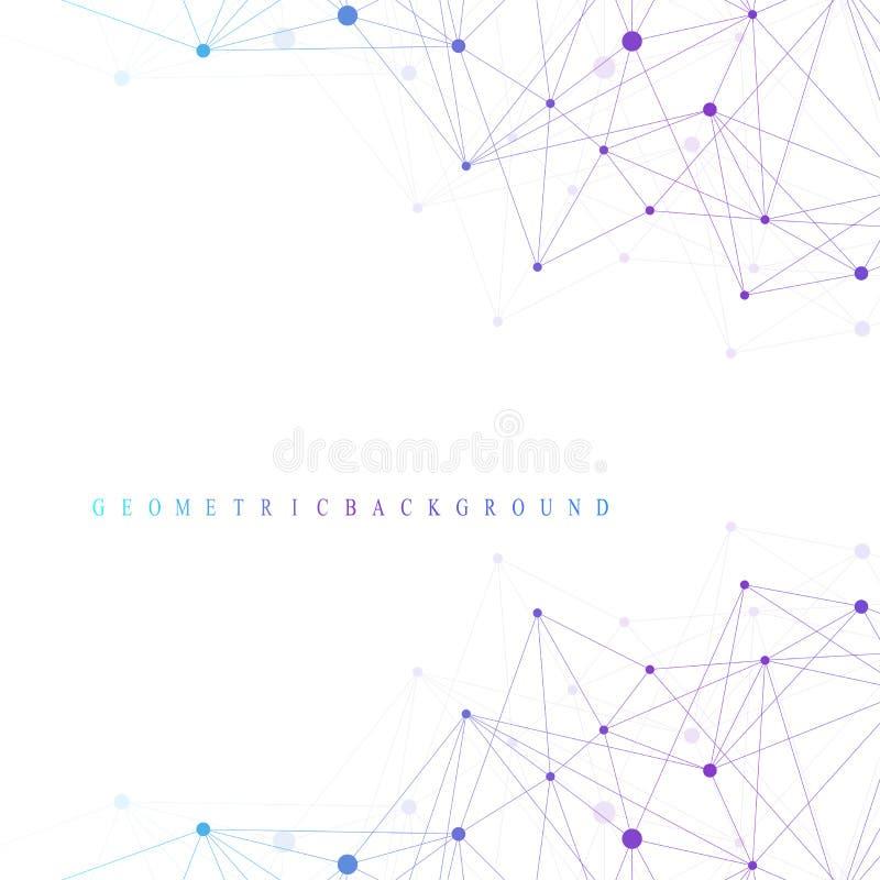 图表抽象背景通信 大数据复合体 深度透视背景  与化合物的最小的列阵 库存例证