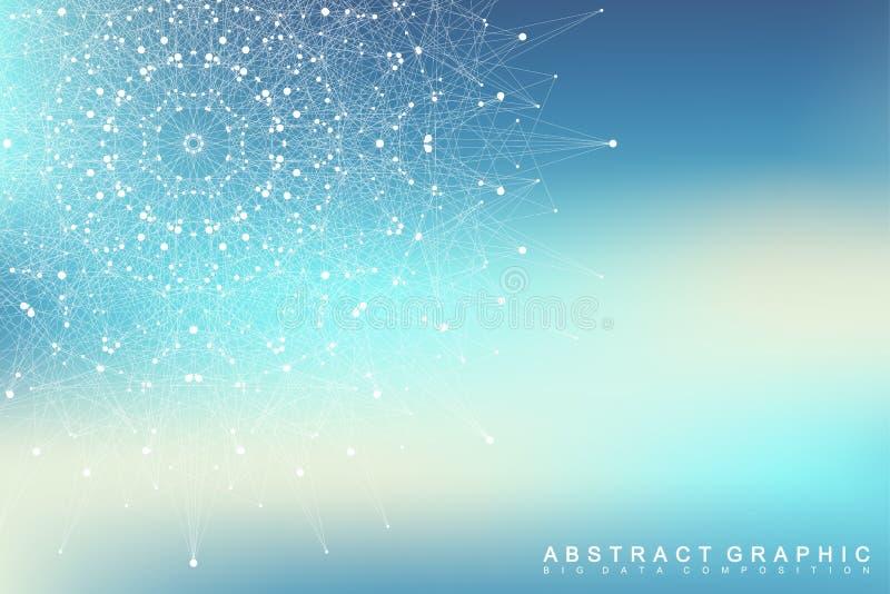 图表抽象背景通信 大数据形象化 与小点的被连接的线 社会网络 向量例证