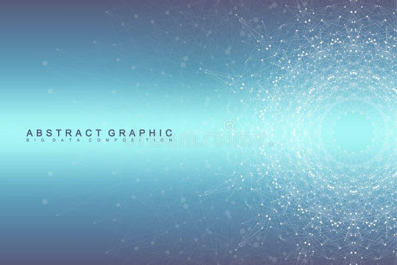 图表抽象背景通信 大数据形象化 与小点的被连接的线 社会网络 库存例证