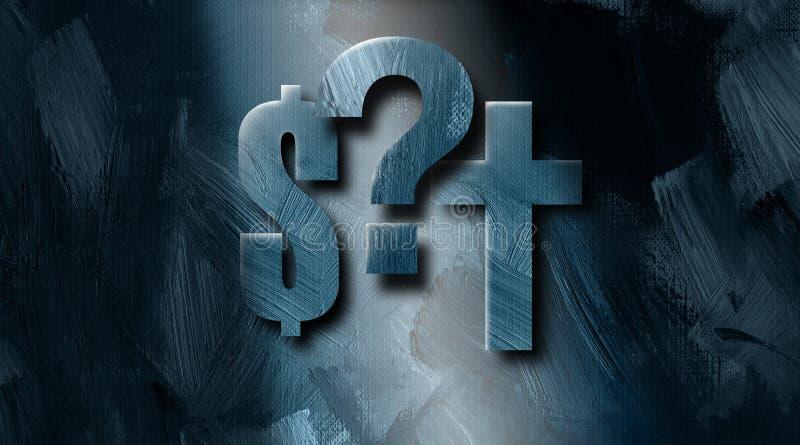 图表美元的符号基督徒十字架和问号挑选背景 库存例证