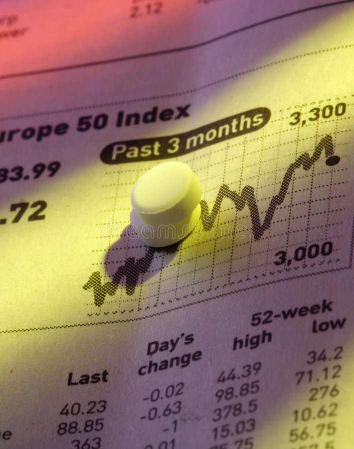 图表药片定价股票 库存图片
