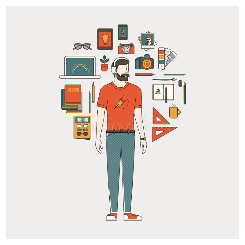图表设计师、以图例解释者和摄影师 向量例证
