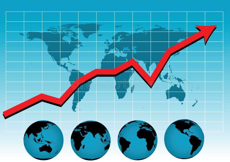 图表销售额导航世界 皇族释放例证