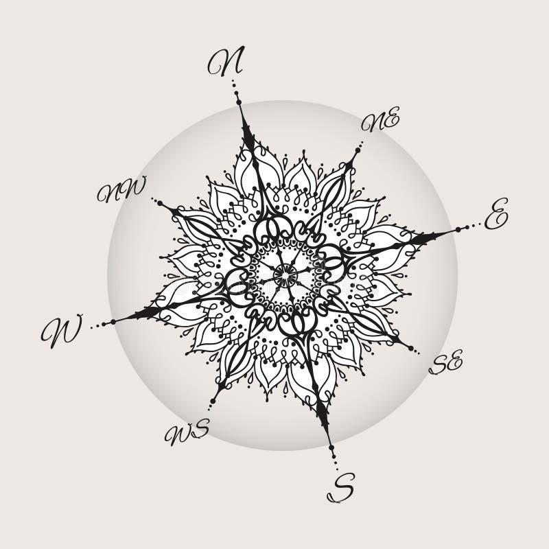 图表风玫瑰色指南针画与花卉元素 皇族释放例证