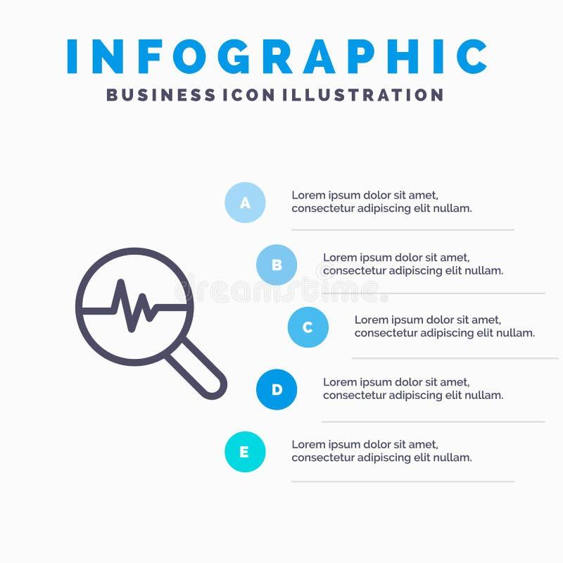 图表,信息图表,图表,查寻图线象有5步介绍infographics背景 库存例证