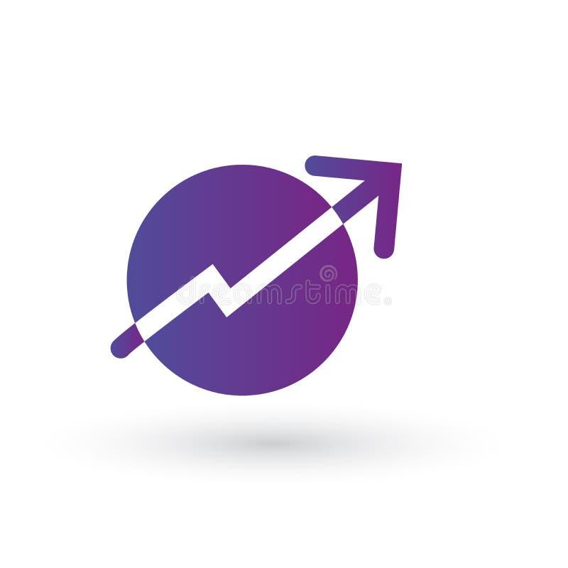 图表,图箭头在圈子 在紫色梯度圈子的白色标志 成长和成功概念 也corel凹道例证向量 皇族释放例证