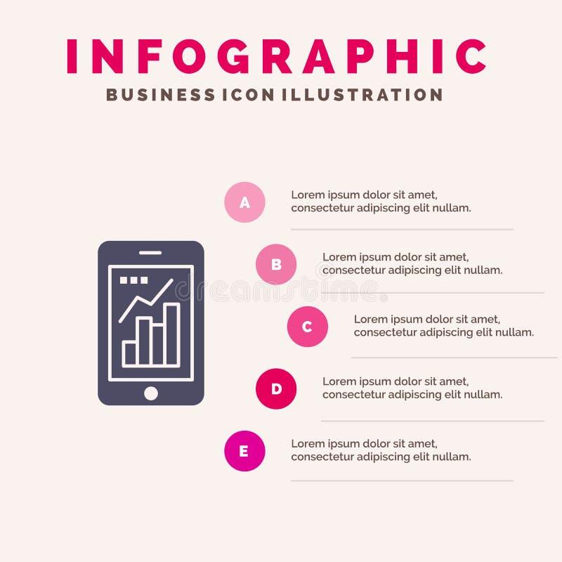 图表,逻辑分析方法,图表的信息,流动,流动图表坚实象Infographics 5步介绍背景 库存例证