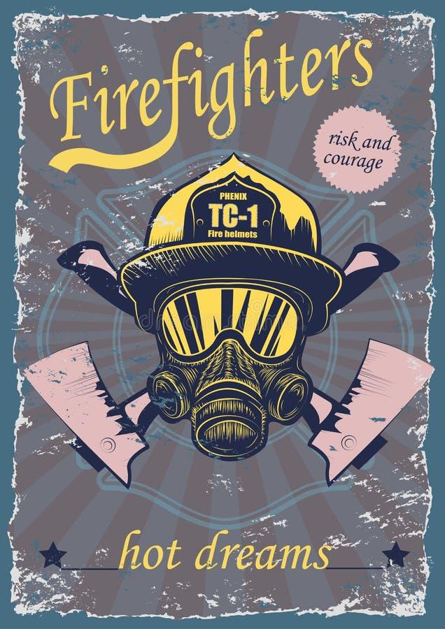 图解图画与消防员的葡萄酒海报 图库摄影