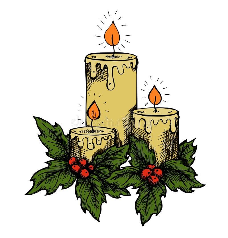 图解图画蜡烛和霍莉莓果叶子。  皇族释放例证
