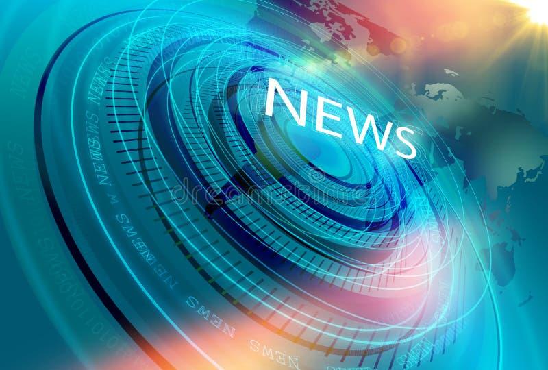 图解现代数字式世界日报演播室背景 向量例证