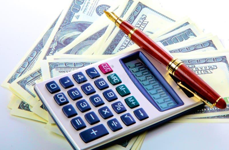 图象与计算器和财政表格数字的金钱 库存照片