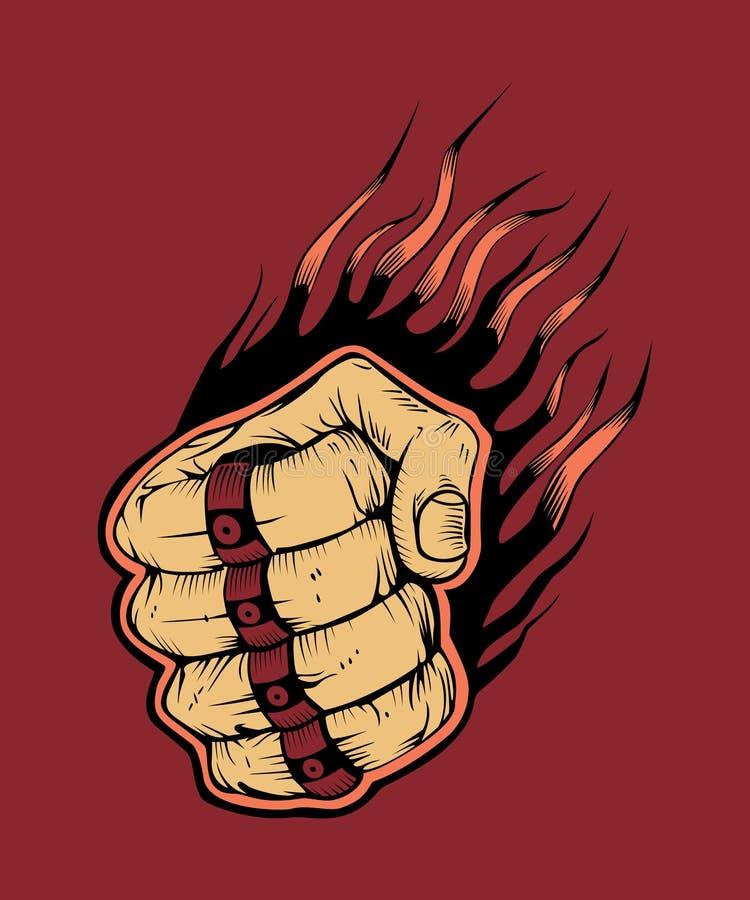 图象有指节铜环的击球手拳头 向量例证