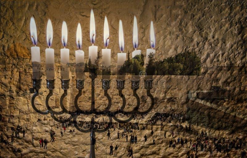 图象象征光明节假日和犹太欲望和希望 免版税库存图片