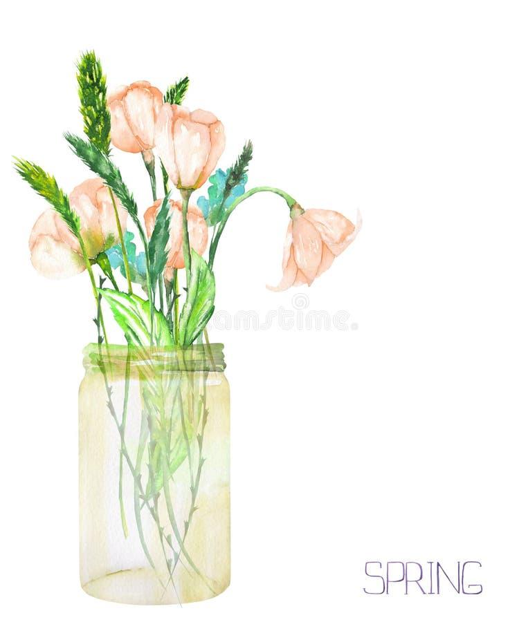 图象,野花的花束的例证(嫩桃红色春天花和小尖峰)在一个玻璃瓶子 向量例证