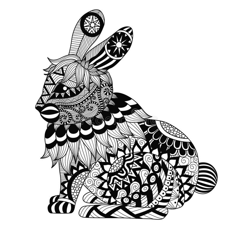 图画上色页、衬衣设计作用、商标、纹身花刺和装饰的zentangle兔子 库存例证