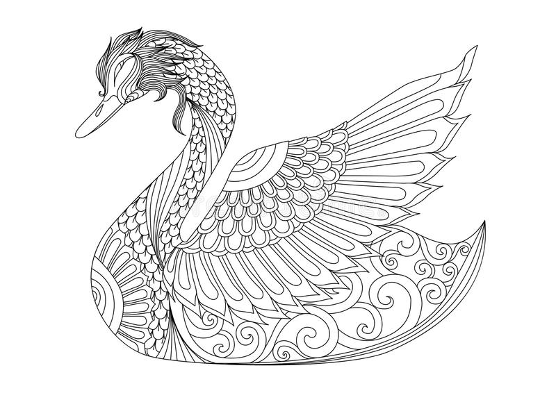 图画上色页、衬衣设计作用、商标、纹身花刺和装饰的zentangle天鹅 向量例证