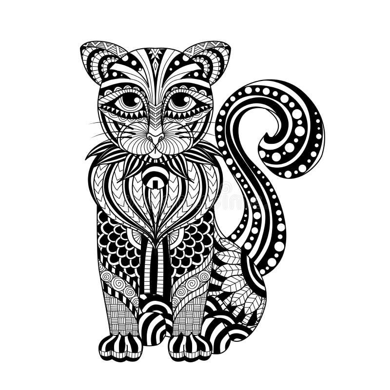 图画上色页、衬衣设计作用、商标、纹身花刺和装饰的zentangle猫 向量例证