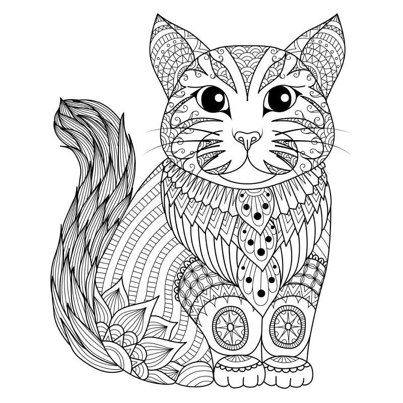 图画上色页、衬衣设计作用、商标、纹身花刺和装饰的zentangle猫 皇族释放例证