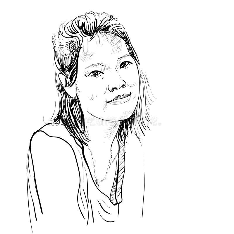 图画亚洲女孩画象剪影传染媒介  免版税图库摄影