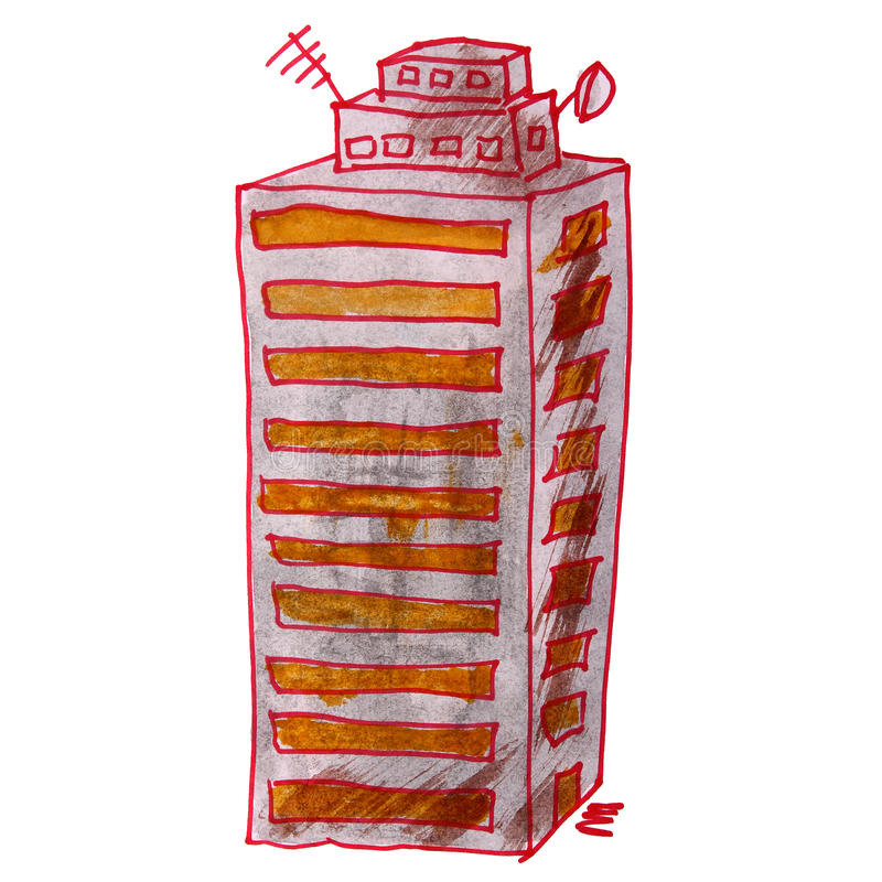 图画儿童水彩房子,多层 向量例证