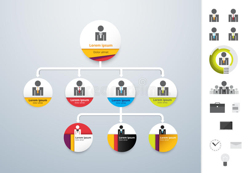 组织系统图 公司联系图 ORG树 传染媒介股票 库存例证