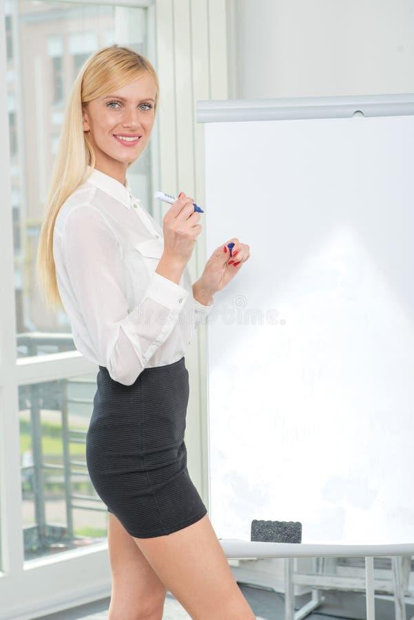 图画和文字在flipchart 美丽的女商人en 免版税库存照片