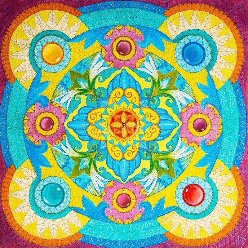 图画在一块帆布的油漆与花卉和图表装饰品 库存例证