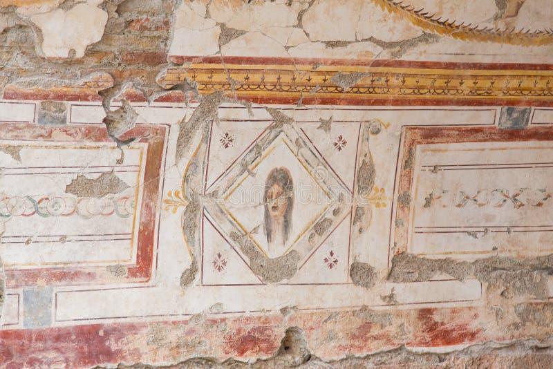 图画在大阳台议院,以弗所古城里 免版税库存图片