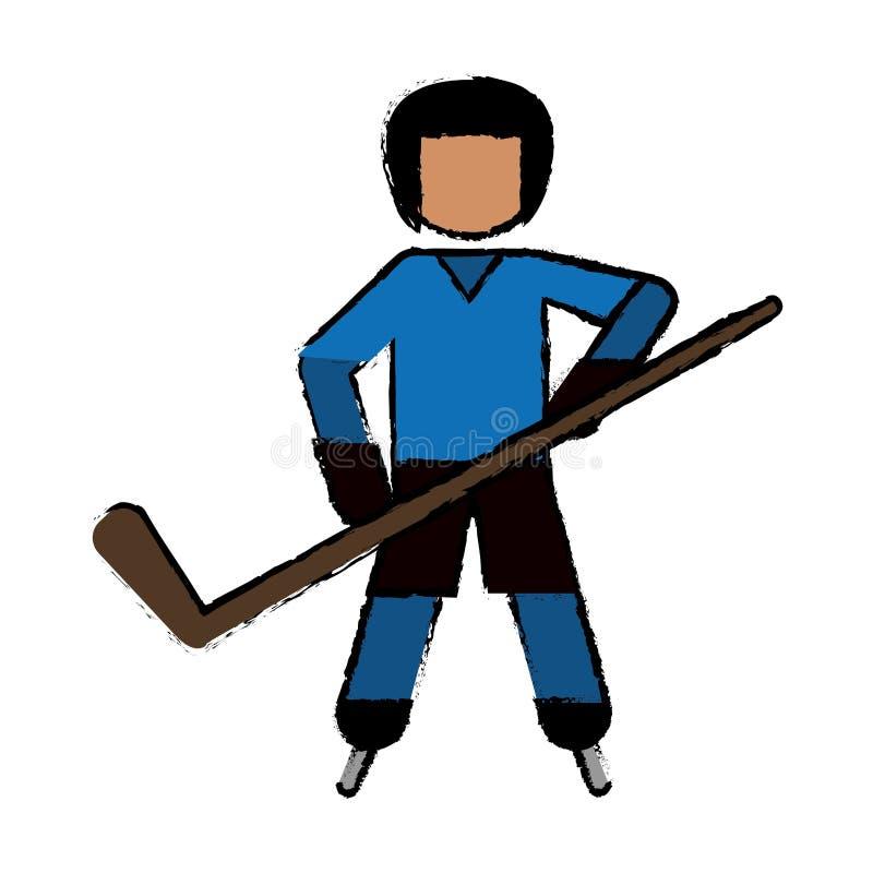 图画字符曲棍球运动员滑冰的蓝色制服 皇族释放例证