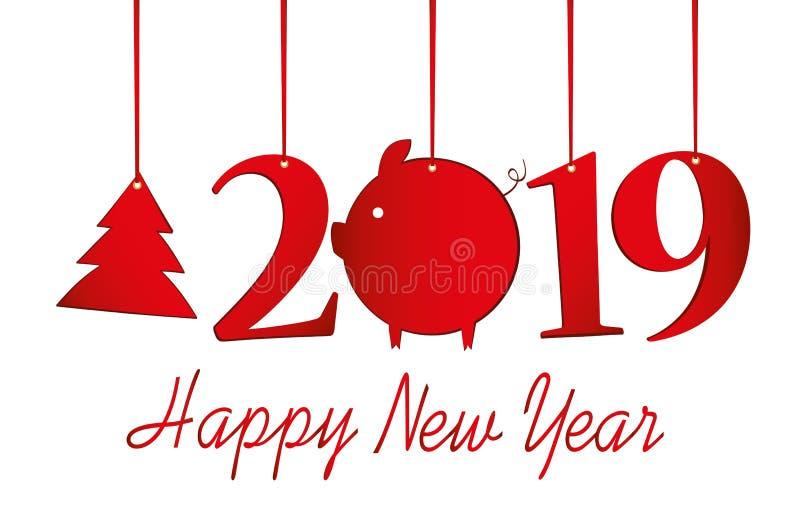 图2019年和圣诞树和猪由糊墙纸制成在一条红色丝带 新年,冬天题材 向量 贺卡 向量例证