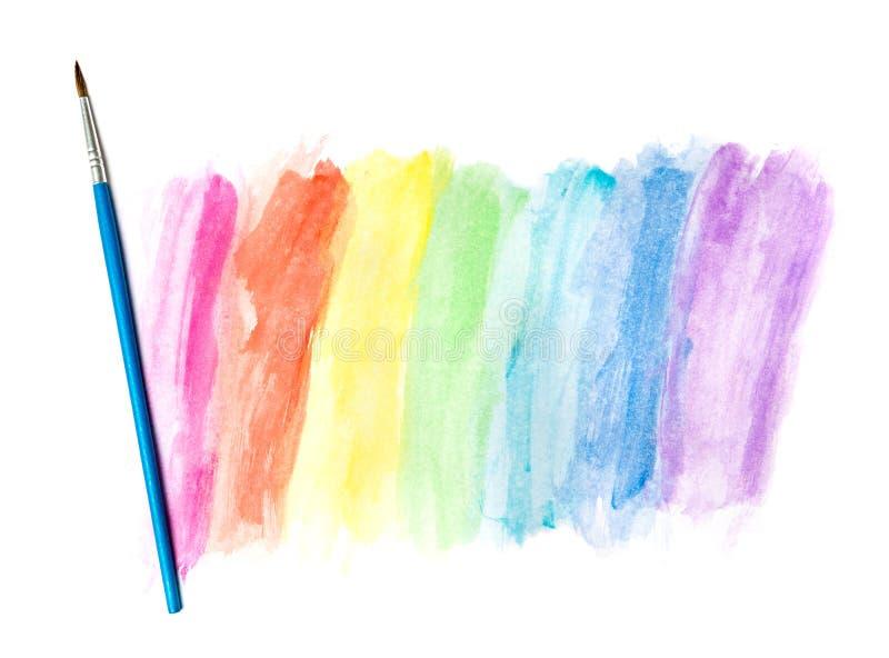 图画水彩和油漆刷 免版税库存照片