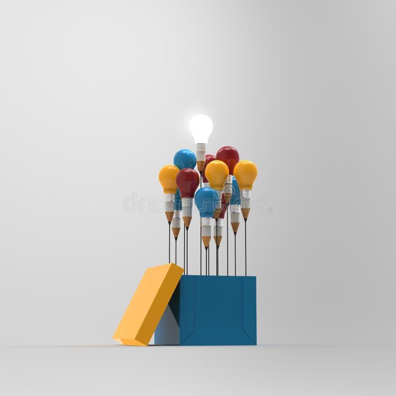 图画想法铅笔和电灯泡概念外面 向量例证