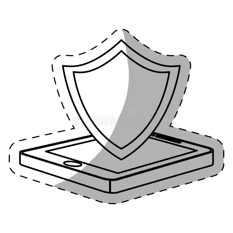 图主持象的盾智能手机 库存例证