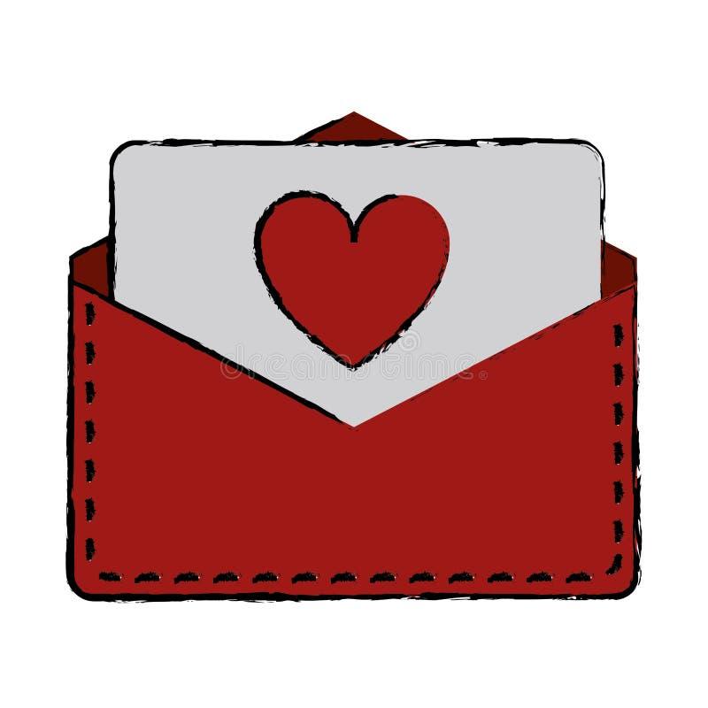 图画爱心脏信封邮件华伦泰信件 库存例证