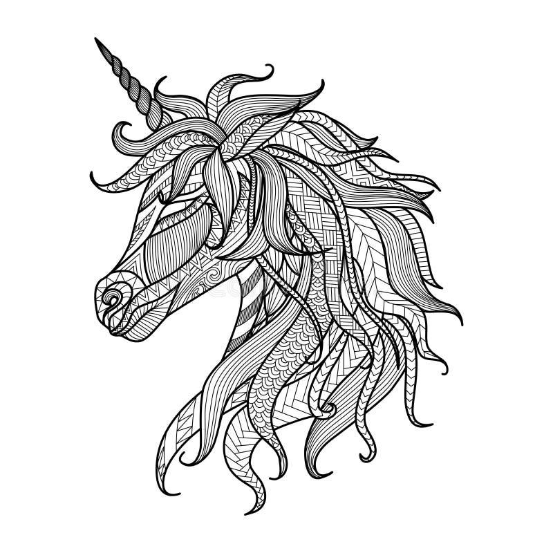 图画独角兽彩图的,纹身花刺,衬衣设计,商标,标志zentangle样式 向量例证