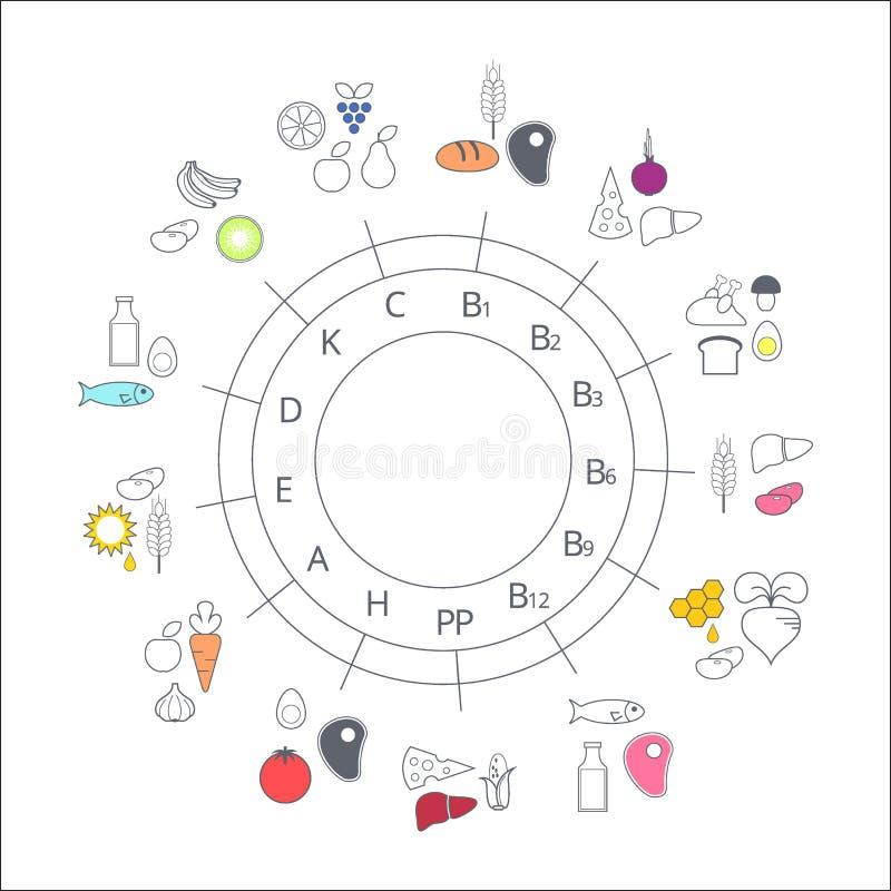 图维生素的食物来源 向量例证