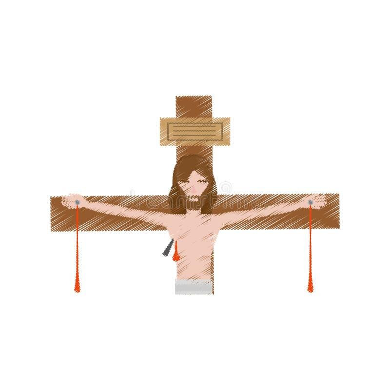 图画耶稣基督模子十字架 库存例证